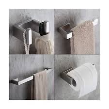Wooden Bathroom Accessories Set by Fapully Four Piece Bathroom Accessories Set Stainless Steel Wall