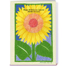 happy birthday mother in law sunflower greeting card by the art of