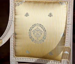 Scalamandre Upholstery Fabric Scalamandre Monroe Arabesque Laurel Wreath Bees Silk Damask Stripe