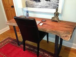 Live Edge Bar Table Julie U0027s Live Edge Desk With Flat Bar Desk Supports