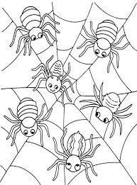 Six Cute Spider On Spider Web Coloring Page Netart Web Coloring Pages