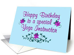 happy birthday yoga instructor purple flowers card 1363490