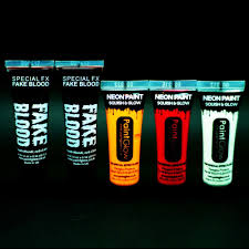 uv glow neon face u0026 body paint u0026 fake blood halloween kit 5x10ml