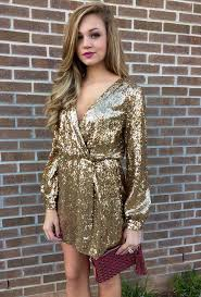 v neckline gold sequin wrap dress with long sleeves for 2015 new