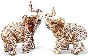 Feng Shui Lovely Pair of Polyresin Elephant Trunk Statue Wealth