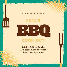 turquoise beach bbq party invitation templates by canva