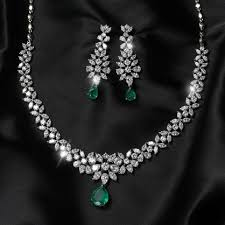 white crystal necklace set images Izaara premium silver crystal necklace set JPG