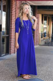 chic maxi dress with sleeves royal blue the mint julep boutique