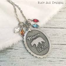 necklace with name charms images Mama bear necklace with optional birthstone and name charms kole jpeg