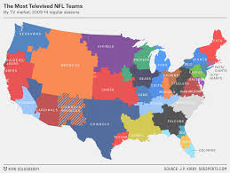 Map Of The Continental United States by Most Televised Nfl Teams In Different Parts Of The Continental