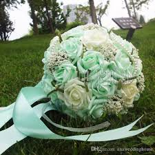 Mint Green Wedding 2016 Beautiful Mint Green Wedding Bouquet With Corsag Wrist