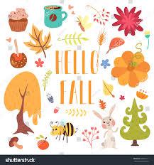 hello fall autumn set stock vector 688582711