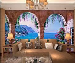 3d wallpaper home decoration mediterranean seaside garden 3d wallpaper home decoration mediterranean seaside garden construction landscape painting murals photo 3d wallpaper in wallpapers from home improvement on
