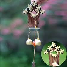 wind chime oval blue flowers wind bells home garden hanging