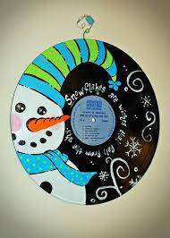 hand painted vintage christmas record album snowman design