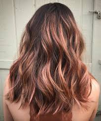 rose gold lowlights on dark hair 30 stunning balayage hair color ideas