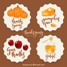 pack of watercolor stickers for thanksgiving vector free