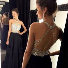 fashion prom dress shiny beading prom dress show back