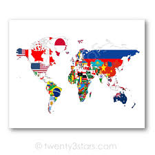 Timbers Flag Flags Of The World Map Poster World Map Flags Flag Map Art