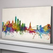 Vintage World Map Canvas by New York City Skyline By Artpause Notonthehighstreet Com