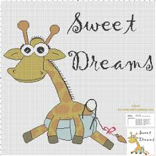 cross stitch baby blanket idea with giraffe and text sweet dreams