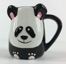 panda shaped coffee tea mug cup panda 3d hand painted by tag so