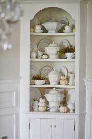 fall hutch white pumpkins and soup tureens stonegable