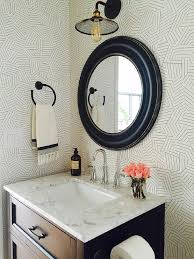 black and white stripes powder room wallpaper transitional