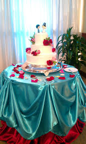 tiffany blue and red cake table draping done by it u0027s so pretty