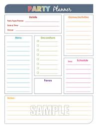 party planner party planner and party guest list set editable organizing