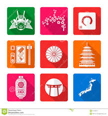 white solid flat style japanese icons set stock vector image