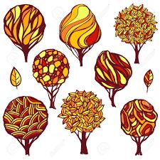 hand drawn set of various trees autumn color scheme logo template