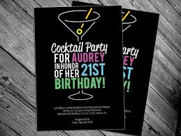 cocktail 21st birthday party printable invitation