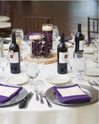 wine bottle plates purple napkin silver charger plate hudsonvalleyweddings