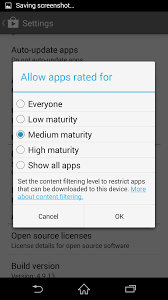change parental controls for play store using an android