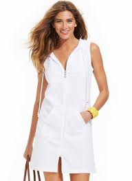 dotti white pinapple zip front hoodie dress swimsuit cover up 2x