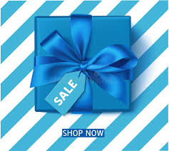 s day decoration decorative blue gift box with blue bow and sale tag winter