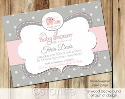 pink and grey baby shower starlite printables invitations stationery unique elephant baby