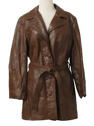 1970 s retro leather jacket 70s dani womens brown leather long