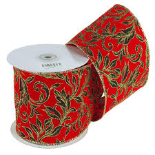wired christmas ribbon poinsettias glitter christmas ribbon wired edge 4 inch 10