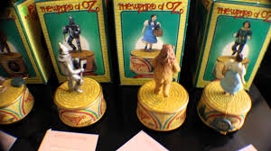 wizard of oz set of four music boxes by enesco dorthy tin man lion