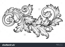 stock vector vintage baroque frame scroll ornament engraving