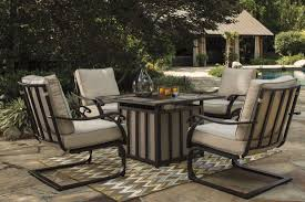 Patio Dining Set With Fire Pit - wandon beige and brown outdoor square fire pit outdoor dining set