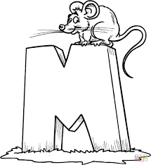 letter m is for mouse coloring page free printable coloring pages