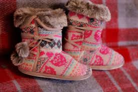 womens boots uk ebay womens knitted fair isle pink cosy slipper boots