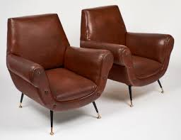 Leather Studded Armchair Mid Century Modern Italian Studded Armchairs Jean Marc Fray