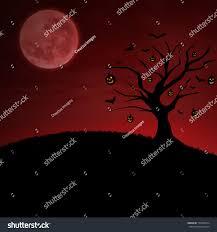 background of halloween background halloween pumpkin tree under moon stock illustration