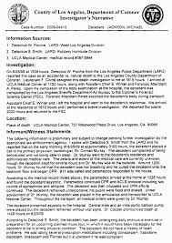 Receiving Clerk Resume Sample Michael Jackson Autopsy Report The Smoking Gun