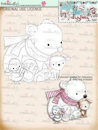 christmas polar bear dog and penguin cute digi stamp