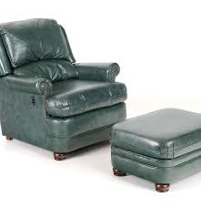 green leather recliner and ottoman by bradington young ebth